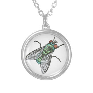 green fly - imitation of embroidery silver plated necklace