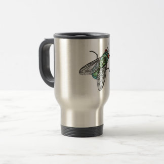green fly - imitation of embroidery travel mug
