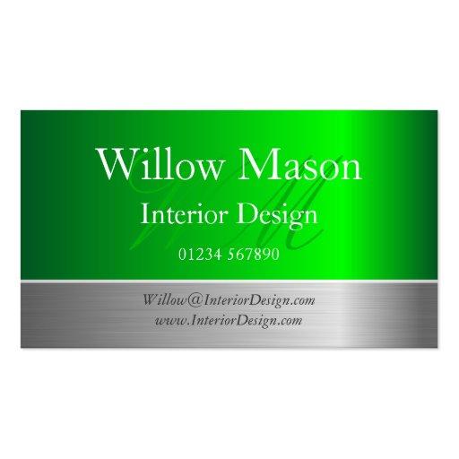 Green Foil & Brushed Steel Monogram Business Card