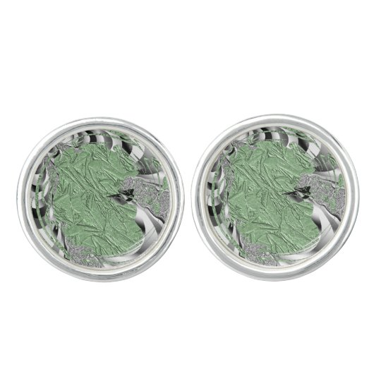 Green Foil Design Cuff Links