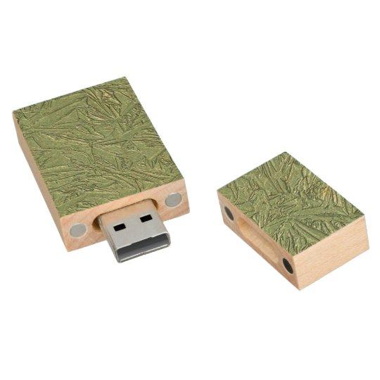 Green Foil Design Wood USB Flash Drive