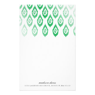 Green Foil Ikat | Personalized Stationery