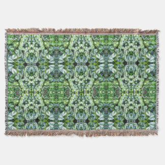 Green Foliage Abstract Plant Throw Blanket