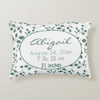 Green Foliage Birth Record Nursery Accent Pillow