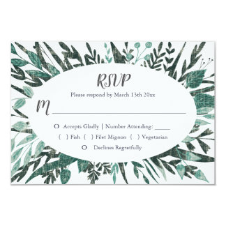 Green Foliage RSVP Cards