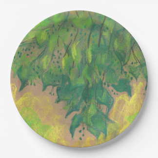 Green foliage, soft pastel life sketch tree branch paper plate