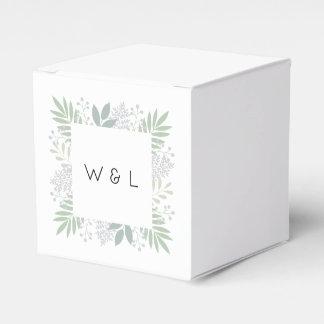 Green foliage wedding favor box