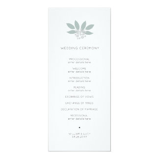 Green foliage wedding program