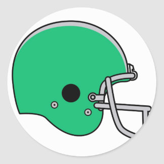 Green football helmet classic round sticker