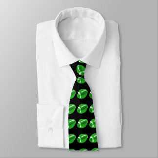 Green Football On Black Necktie
