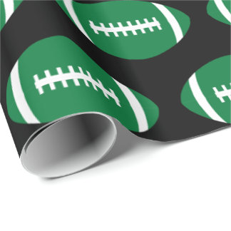Green Footballs Football Player or Team Party Gift Wrapping Paper