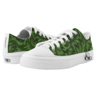 Green Forest Camo Pattern Low Top Canvas Shoes