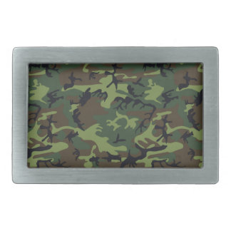 Green Forest Military Camouflage Pattern Belt Buckle