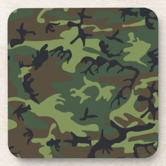 Green Forest Military Camouflage Pattern Coaster