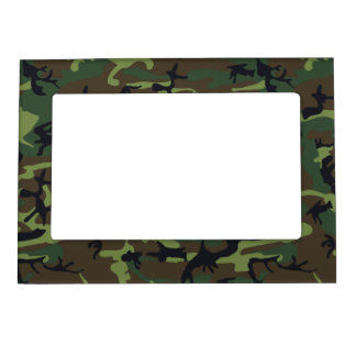 Green Forest Military Camouflage Pattern Magnetic Picture Frame