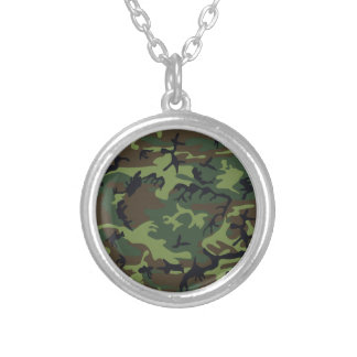 Green Forest Military Camouflage Pattern Silver Plated Necklace