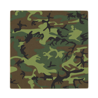 Green Forest Military Camouflage Pattern Wood Coaster
