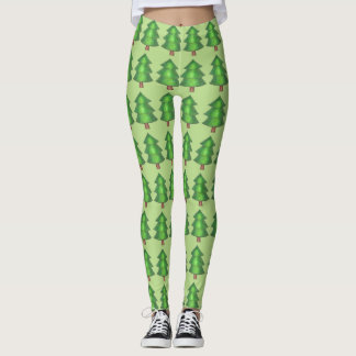 Green Forest Pine Tree Trees Outdoor Camp Leggings