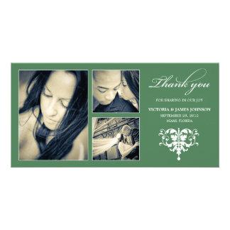 GREEN FORMAL COLLAGE | WEDDING THANK YOU CARD CUSTOM PHOTO CARD