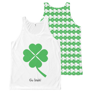 Green Four Leaf Clover All-Over Print Singlet