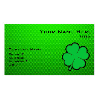 Green Four Leaf Clover Business Card Template