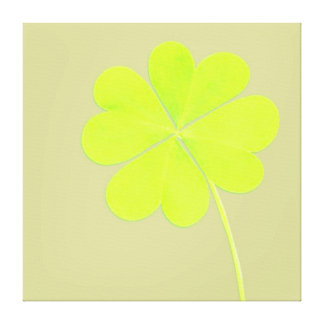 Green Four Leaf Clover Gallery Wrapped Canvas