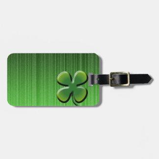 Green Four Leaf Clover Luggage Tag