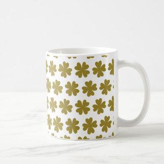 Green Four-leaf Clover Pattern Classic White Coffee Mug