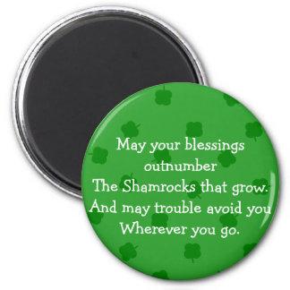 Green Four Leafed Clover Irish Luck Fridge Magnet
