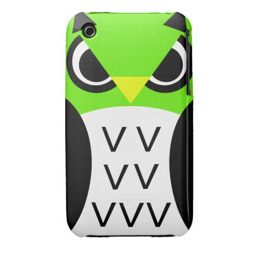 Green Fowl Owl Case-Mate iPhone 3 Cases