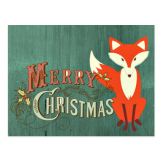 Green Fox Merry Christmas Card Postcard