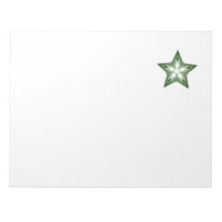 Green Fractal Art Star Design on Notepad