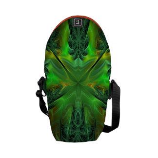 Green Fractal Designed Messenger Bag