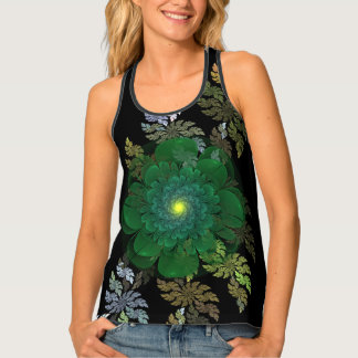 Green Fractal Flower All-Over Print Tank Top