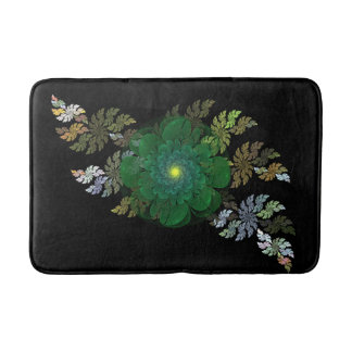 Green Fractal Flower Bath Mat