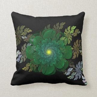 Green Fractal Flower Pillow