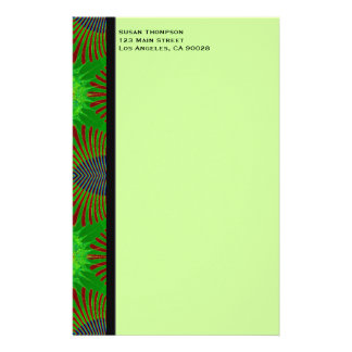 green fractal customized stationery