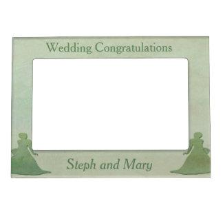 Green Frame - Mint Rustic Vintage Lesbian Wedding Magnetic Frames