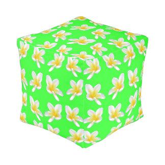 Green Frangipani Delight, Full Print Cube Pouffe. Pouf