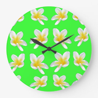 Green Frangipani Delight, Large Round Wall Clock. Large Clock