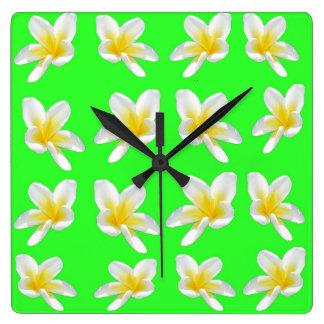 Green Frangipani Delight, Large Square Wall Clock. Square Wall Clock