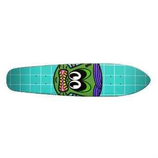 Green Frankenstein monkey on blue tile Custom Skateboard