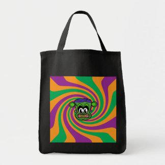 Green Frankenstein monkey on Halloween swirl Canvas Bag