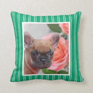 Green French Bulldog American Mojo pillow