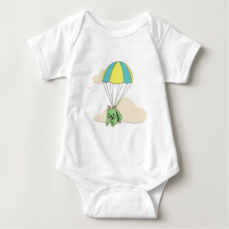 Green French Bulldog Umbrella Fun Onsie Baby Bodysuit