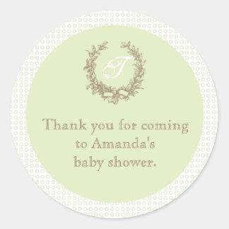 Green French Monogram Baby Shower Favor Sticker