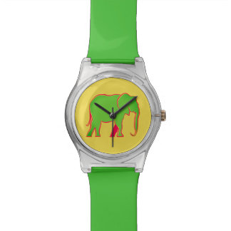 Green Fresh Cartoon Elephant Stylish Vivid Yellow Wrist Watch