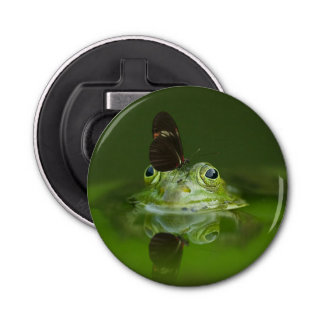 Green Frog and Butterfly Bottle Opener