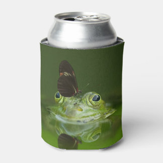 Green Frog and Butterfly Can Cooler