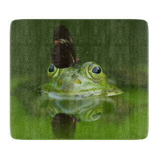 Green Frog and Butterfly Cutting Board